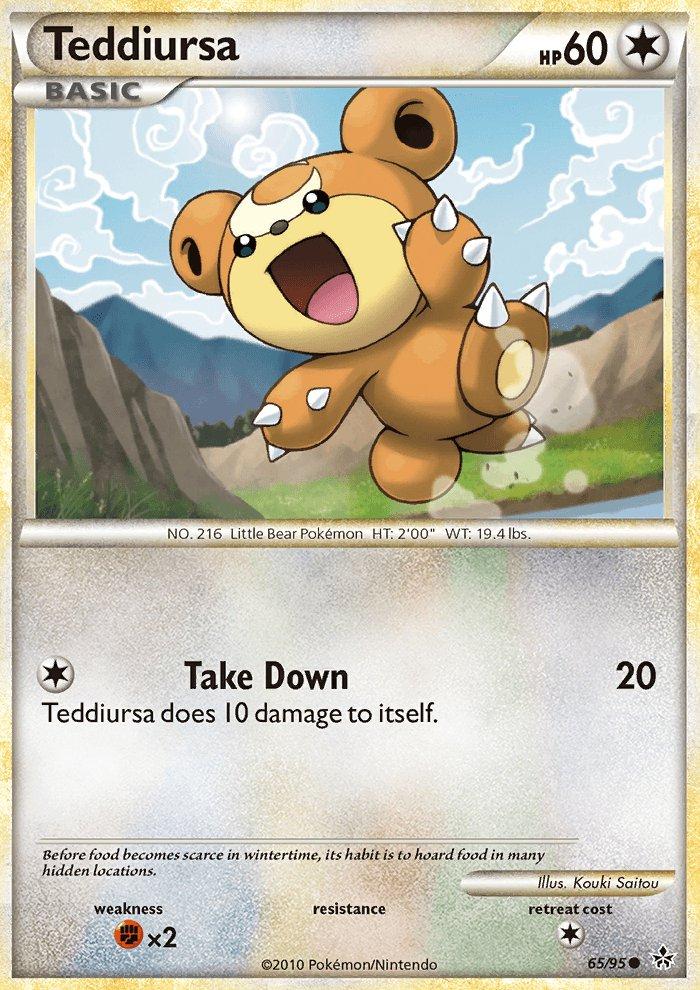 Pokemon HS Unleashed Single Card Common Teddiursa 65/95