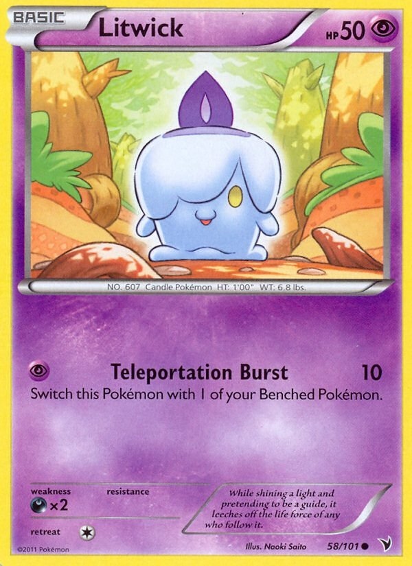 Pokemon B&W Noble Victories Single Card Common Litwick 58/101