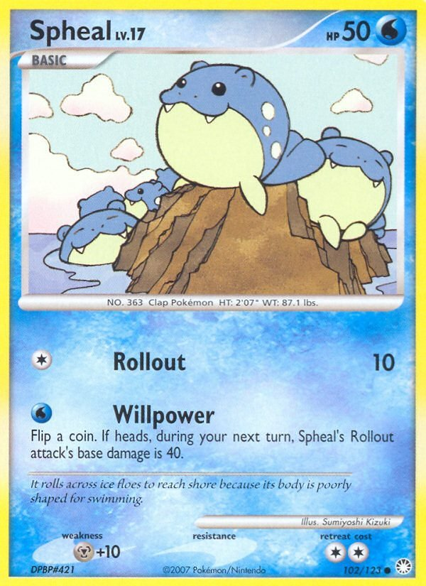 Pokemon D&P Mysterious Treasures Single Card Common Spheal 102/123