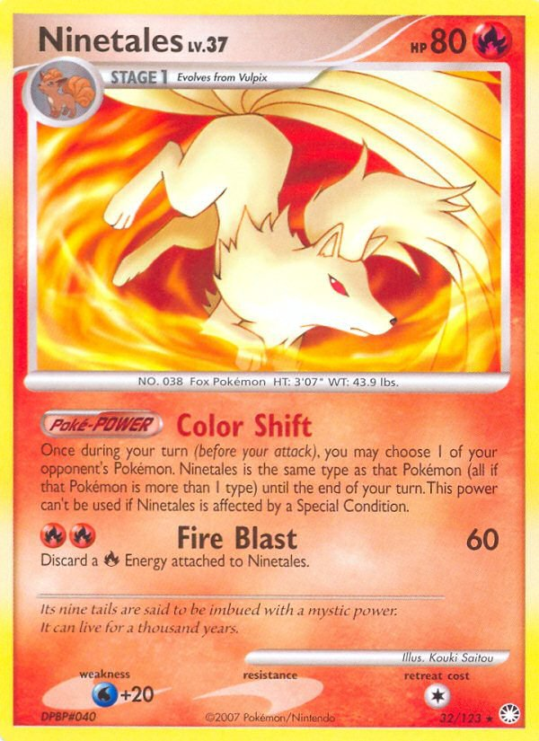 Pokemon D&P Mysterious Treasures Single Card Rare Ninetales 32/123