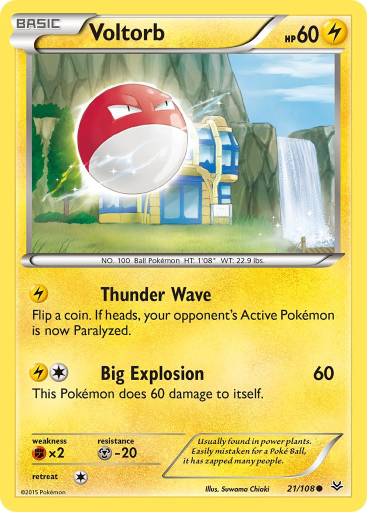 Pokemon XY Roaring Skies Single Card Common Voltorb 21/108
