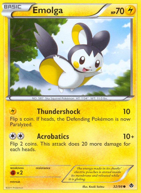 Pokemon B&W Emerging Powers Single Card Common Emolga 32/98