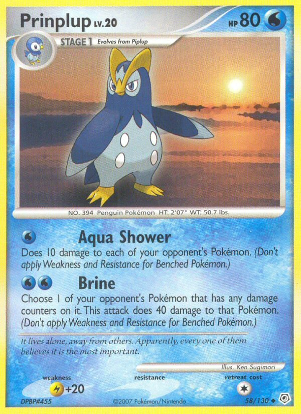 Pokemon Diamond & Pearl Base Set Single Card Uncommon Prinplup 58/130
