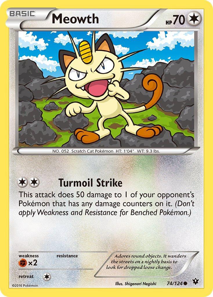 Pokemon XY Fates Collide Single Card Common Meowth 74/124