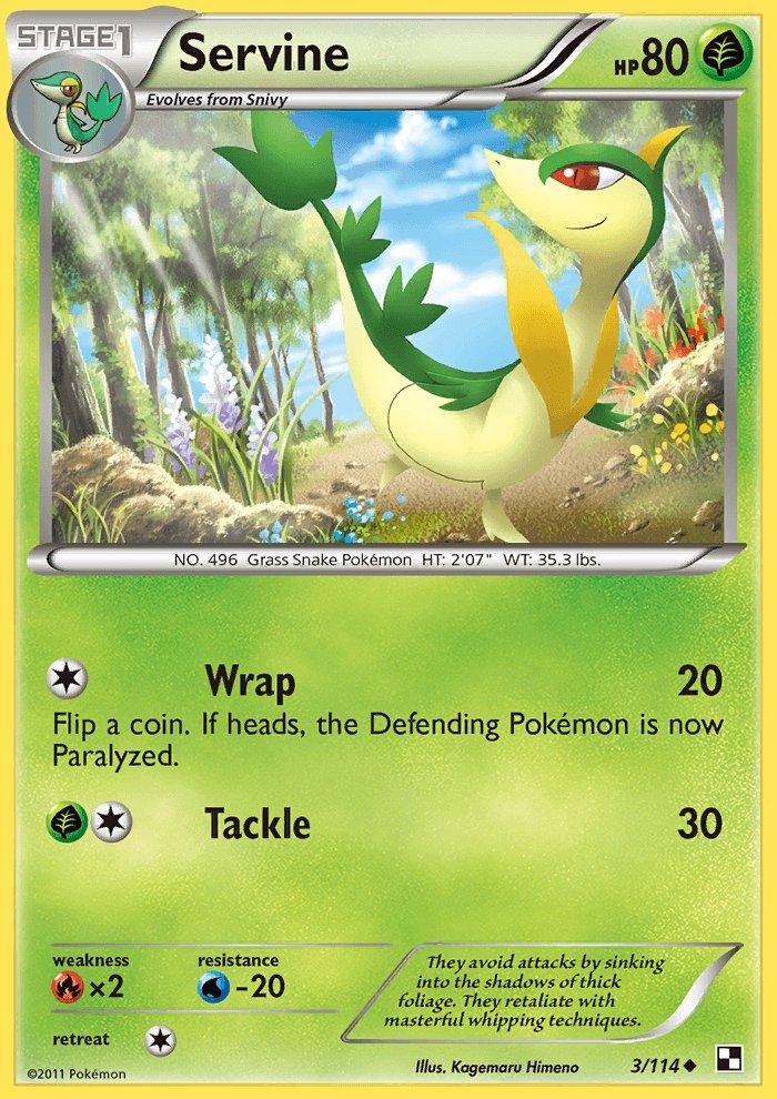 Pokemon Black & White Base Set Single Card Uncommon Servine 3/114