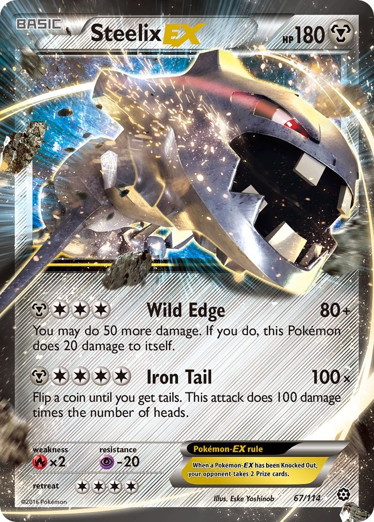Pokemon XY Steam Siege Single Card Rare Holo EX Steelix EX 67/114