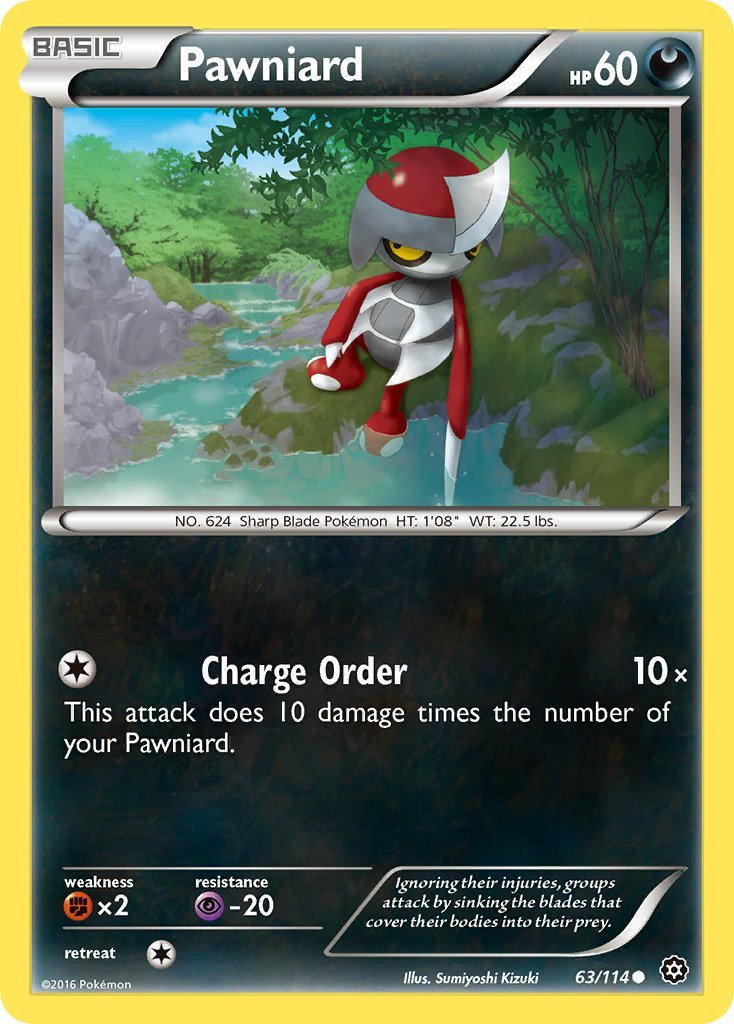 Pokemon XY Steam Siege Single Card Common Pawniard 63/114