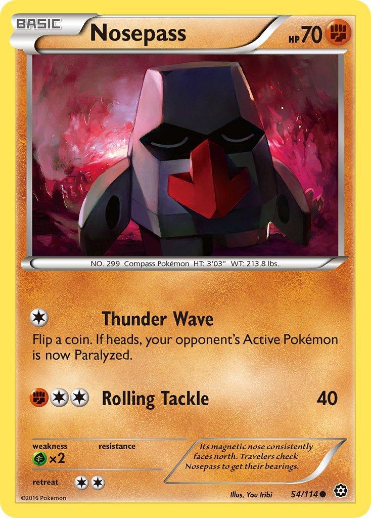 Pokemon XY Steam Siege Single Card Common Nosepass 54/114