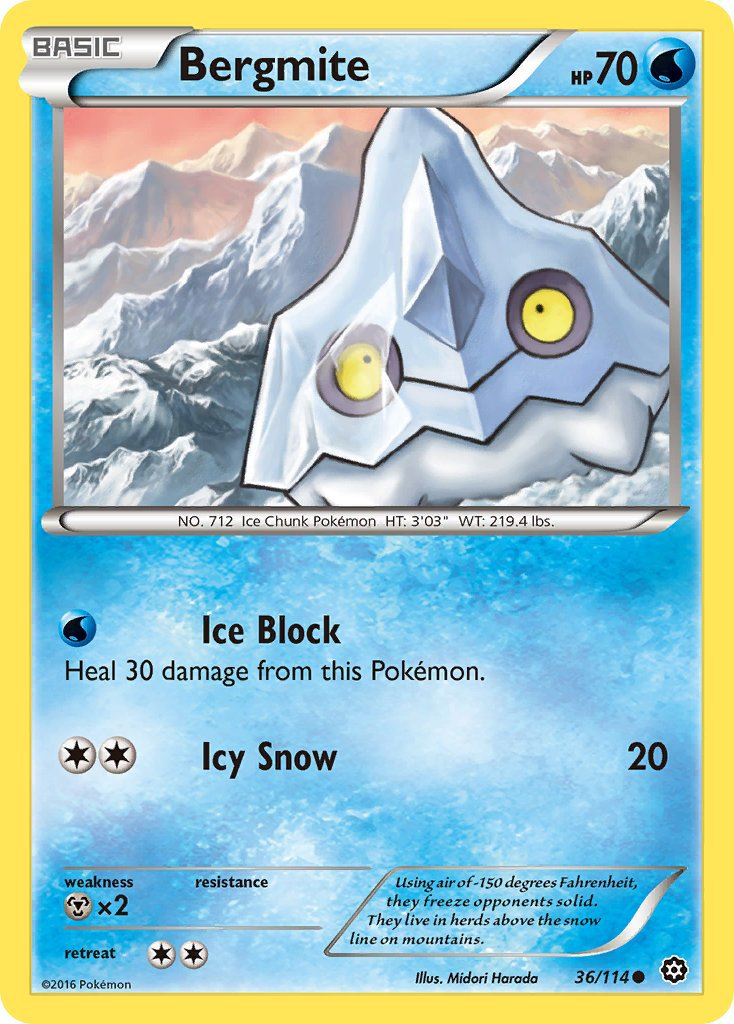 Pokemon XY Steam Siege Single Card Common Bergmite 36/114