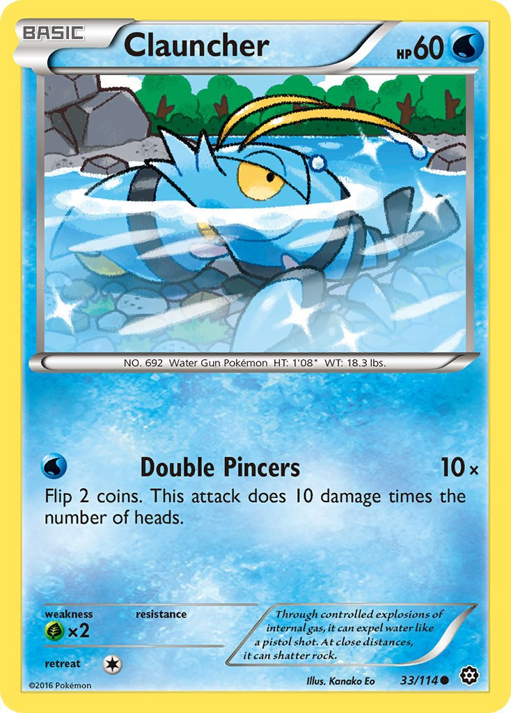 Pokemon XY Steam Siege Single Card Common Clauncher 33/114