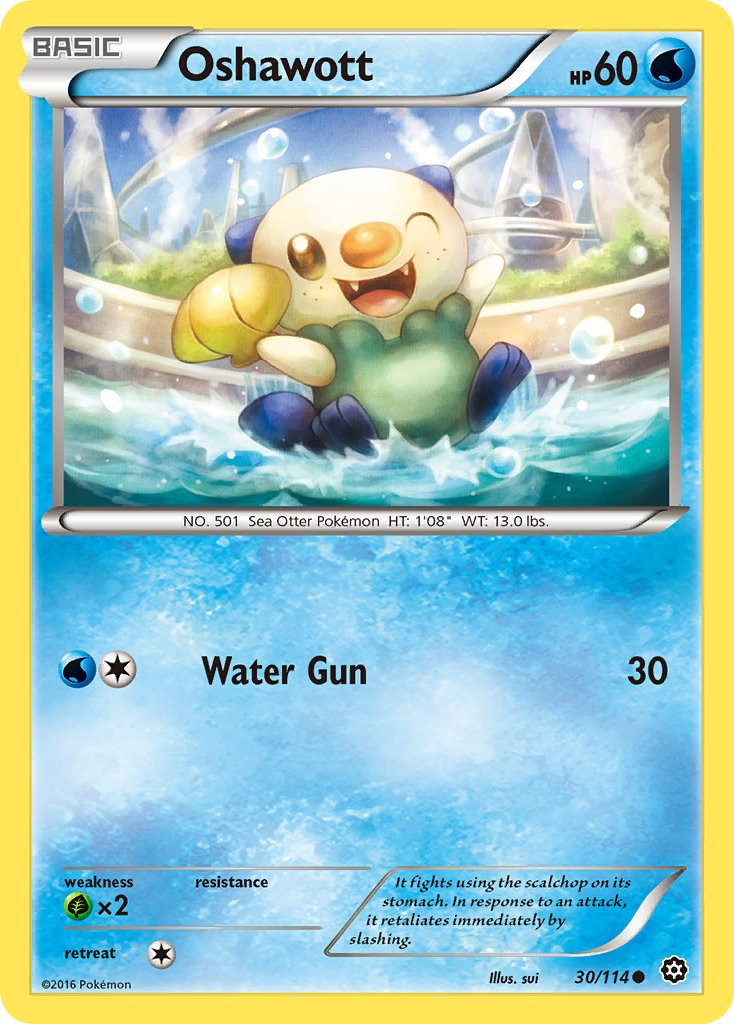 Pokemon XY Steam Siege Single Card Common Oshawott 30/114