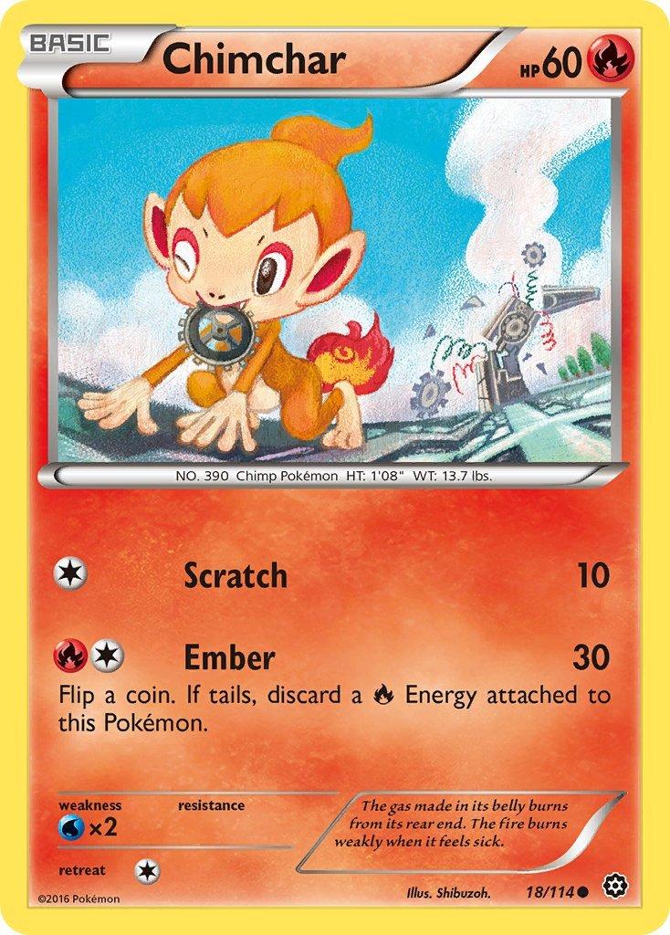 Pokemon XY Steam Siege Single Card Common Chimchar 18/114