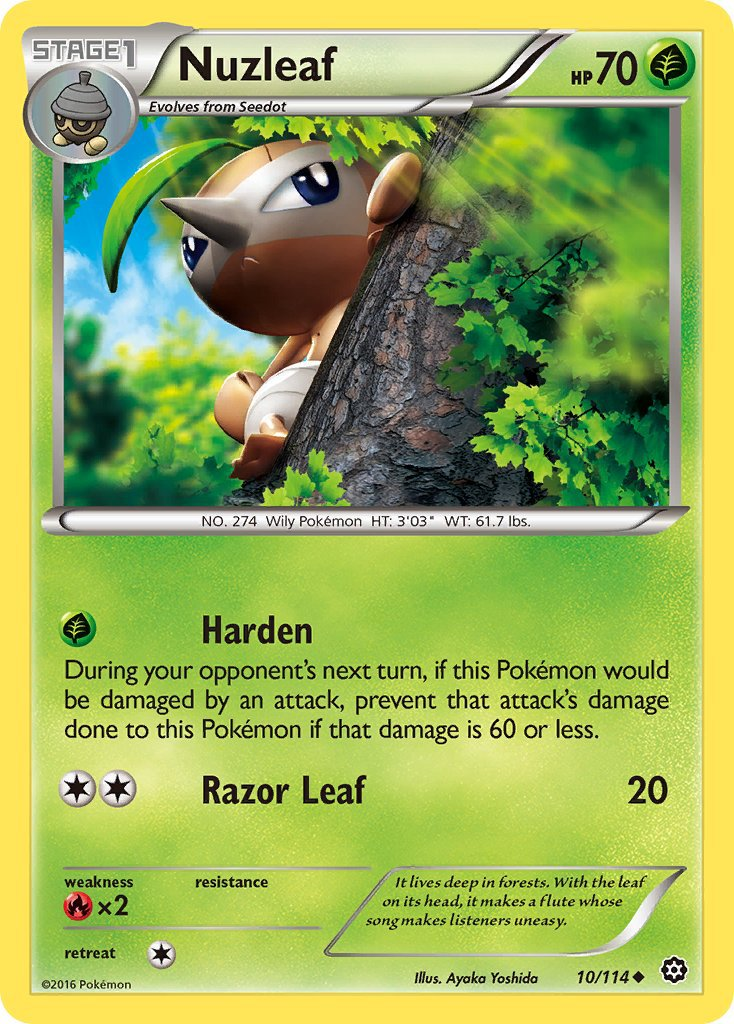 Pokemon XY Steam Siege Single Card Uncommon Nuzleaf 10/114