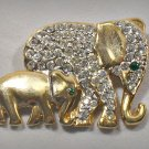 Vintage Elephant Mother & Baby Pin Pave Set Rhinestones Wildlife Brooch