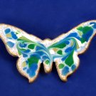 Vintage Enamel on Copper Butterfly Pin Modernist Mid-Century Brooch Jewelry