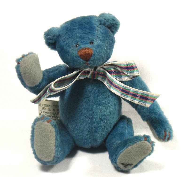 """Ganz Bluebeary Bear by Lorraine Chein Cottage Collectibles Jointed 1995 5"""" Mini"""