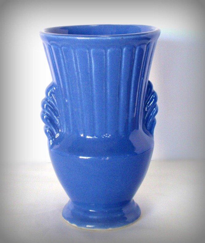 Vintage Art Deco Pottery Vase Matte Blue 97033 Ca 1940
