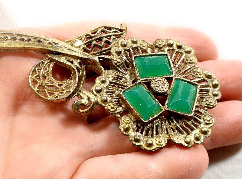 Vintage L/N Art Deco Chrysoprase Glass Flower Pin Brooch Jewelry Little Nemo