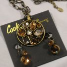 Cookie Lee Medallion Necklace Earrings Jewelry Smokey Gray Topaz Amber Bronze