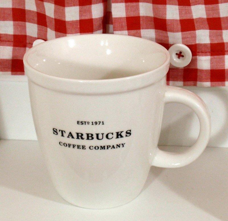 "Starbucks Barista Coffee Cup Mug 2007 Black Lettering 4.5"""