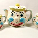 Vintage Lipper & Mann Clown Teapot Sugar Bowl Creamer Set MIJ Japan 5 Pc