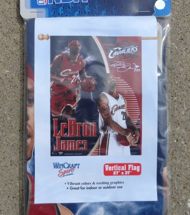 """2006 LeBron James Cleveland Cavaliers NBA Vertical Flag 27"""" by 37"""" Flag Only Unopened Flag Banner"""