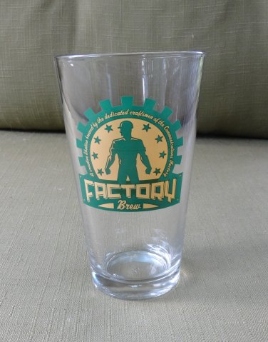 Factory Brew Clear Glass One Pint BAr Glass Green and Yellow Logo