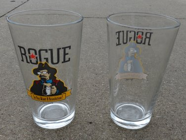 Pair of Rogue Revolution One Pint Ale Glasses Rogue Brewery Newport Oregon