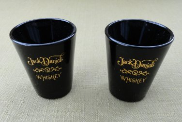 Pair of Jack Daniel's Whiskey Black Shot Glasses with Gold Tone Logos