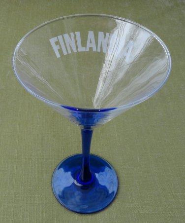 Finlandia Vodka Cobalt Blue Stem Footed Martini Glass by Luminarc France