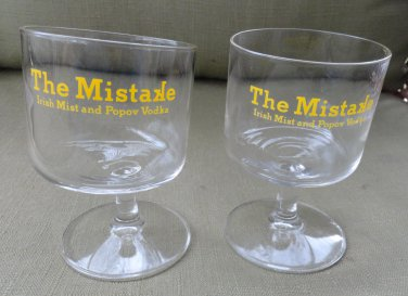 New Pair of 8 ounce The Mistake Cocktail Bar Glasses Tilted Glass Footed Strm