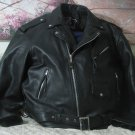 JR LEATHER Mens Heavy Black Motorcycle Jacket Size 62 Good Used JRLeather.com