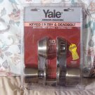 YALE Keyed Entry Deadbolt 4 Keys Dirty Brass Finish New