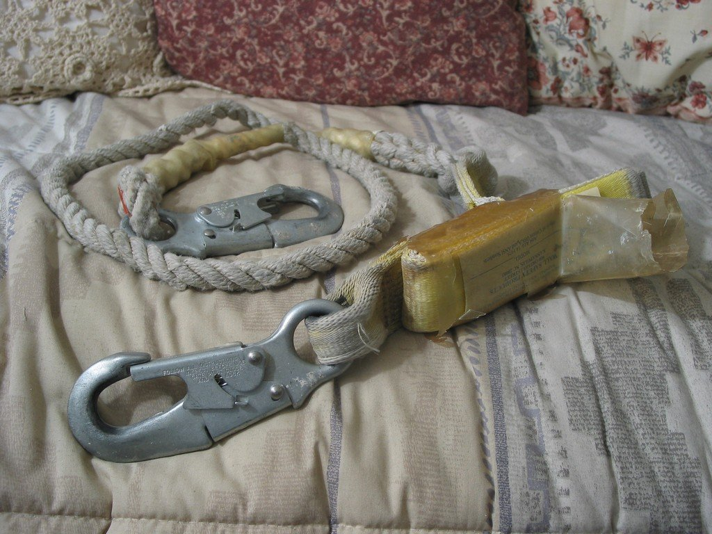 WALL Safety Shock Absorbing Fall Rope Lanyard Used