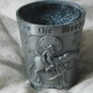 SHOT GLASS Fear The Reaper Pewter Over Glass Used Drink