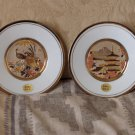 CHOKIN JAPANESE PLATES 2 with Boxes Peacocks Buildings