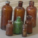 BOTTLES Antique Small Brown Bottle Set of 7 Dirty and Worn