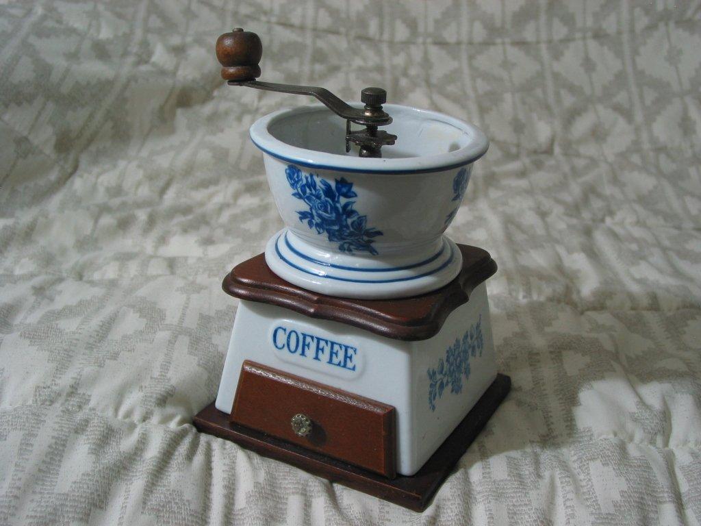 COFFEE GRINDER Porcelain Wood Powder Grind Not Branded Used Decor