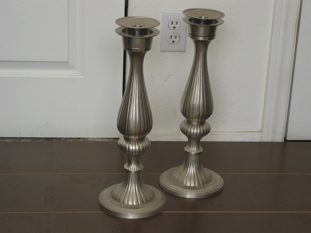 CANDLESTICK Set Two Candle Holders 16 Inch Tall Used