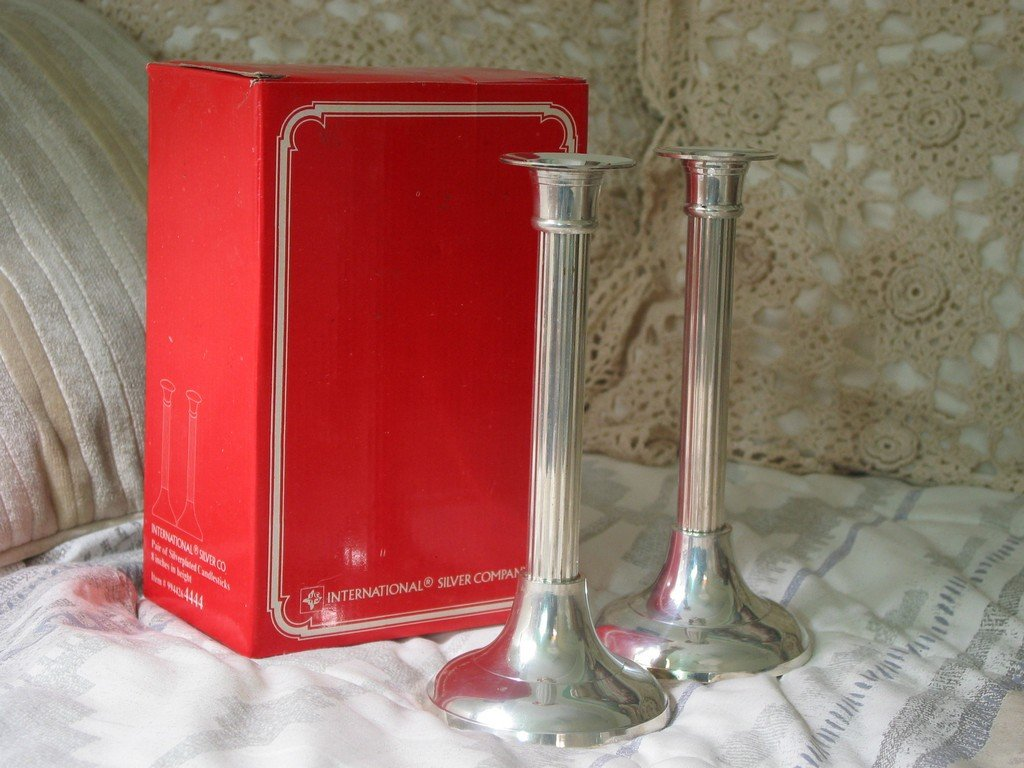 CANDLESTICKS 8in Silverplated International Silver Pair