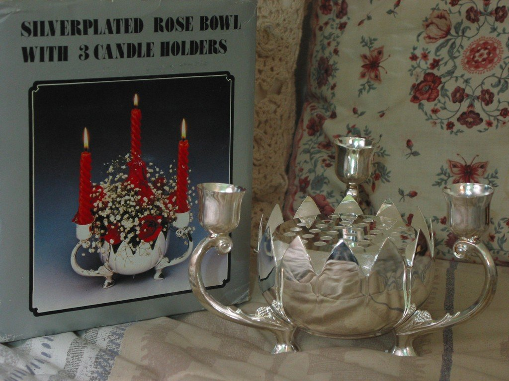 SILVER PLATED 3 Candlestick Candle Holder Rose Bowl