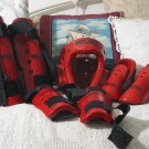 MACHO Martial Arts Red Protective Pads Gear Sm Kids