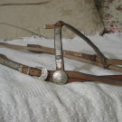 TAN HORSE HALTER With Silver Ornaments Unmarked Vintage