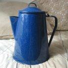 COFFEE POT Percolator Camping Blue Speckled Enamel