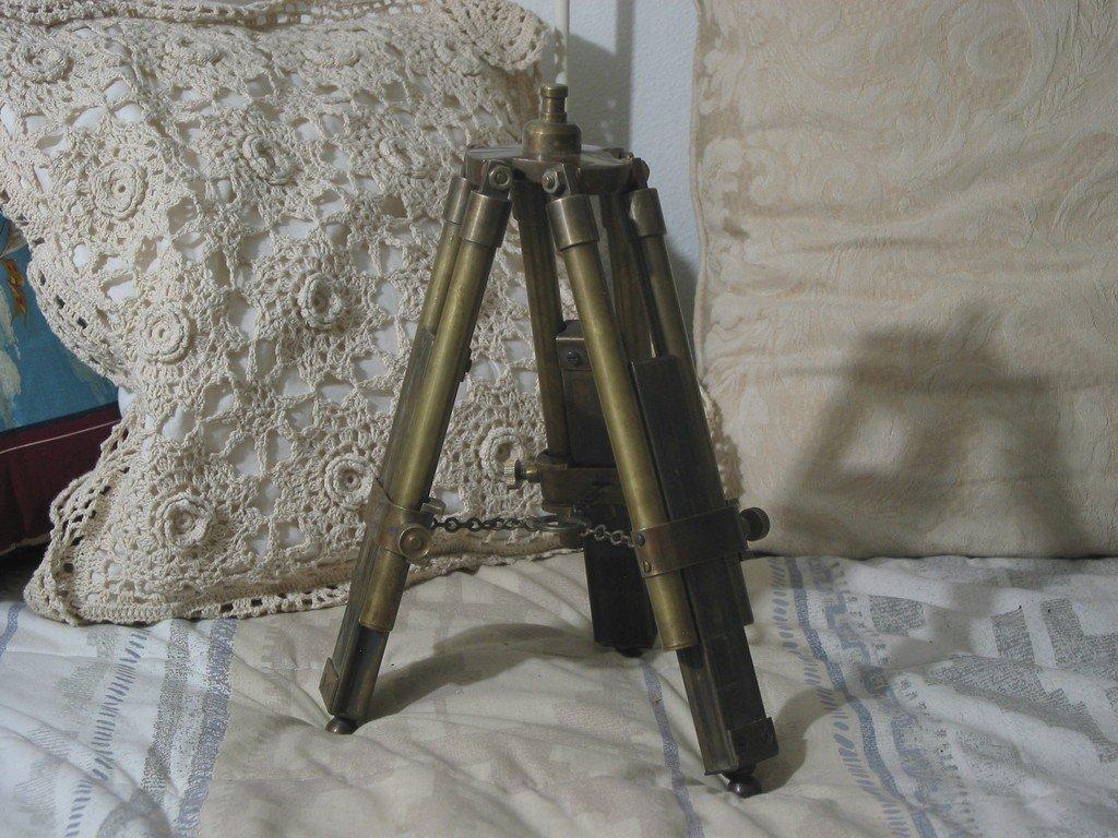 SMALL SOLID BRASS Telescope Tripod Desk Table Used