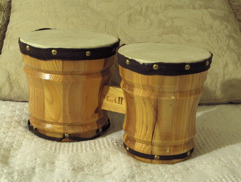 Mark ii small wooden wood bongo set used