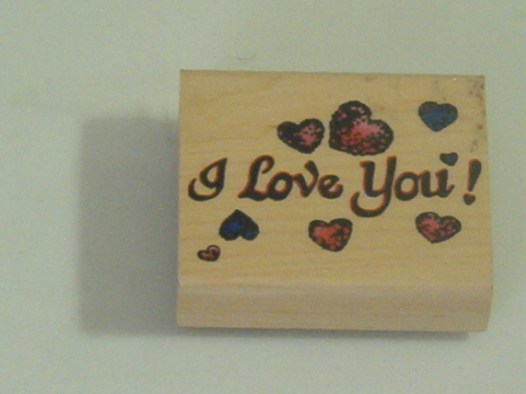 RUBBER INK Stamp I Love You Lettering Hearts Used