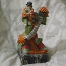 CLOWN Playing Accordion Depose Italy Statue Marble Base