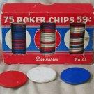 DENNISON Vintage Poker Playing Cards Chips Set of 75