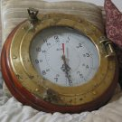 PORTHOLE Brass 24 hr 12 hr Clock In Wood Frame Broken